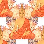 Buddha Head Seamless Pattern. Vintage Decorative Composition. Indian, Buddhism, Spiritual Esoteric,  poster