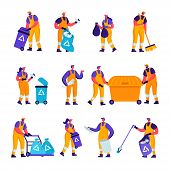 Set Of Flat Garbage Recycling And Metallurgy Factory Workers Characters. Cartoon People Ecology Prot poster