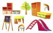 Kindergarten Furniture, Set Cartoon Vector Illustrations. Wooden Furniture For Childrens Play Or Cla poster
