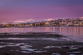 Sunrise With Amazing Magenta Color Over Tromso, Norway. Winter. Polar Night. Long Shutter Speed poster