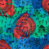 Warli Art Painting Seamless Pattern - Hand Drawn Traditional The Ancient Tribal Art India. Pictorial poster