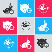 Set Hunt On Rabbit With Crosshairs, Hunt On Bear With Crosshairs And Hunt On Duck With Crosshairs Ic poster