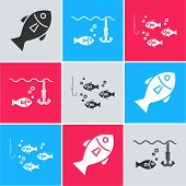 Set Fish, Fishing Hook Under Water With Fish And Fishing Hook Under Water With Fish Icon. Vector poster
