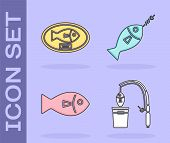 Set Fishing Rod And Fish, Fish Trophy Hanging On The Board, Fish And Fish On Hook Icon. Vector poster