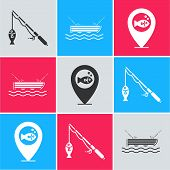 Set Fishing Rod And Fish, Fishing Boat With Fishing Rod On Water And Location Fishing Icon. Vector poster