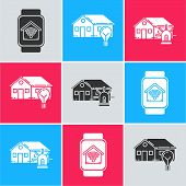 Set Smart Watch With Smart Home With Wi-fi, Smart House And Light Bulb And Smart House And Alarm Ico poster