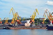 image of coal barge  - Cargo crane ship freight traine and coal in port - JPG