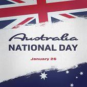 Australia National Day. Australian Flag With Stripes And National Colors. Australia National Day. Ja poster