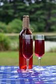 stock photo of boose  - Two glasses of wine served in glasses.