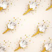 Happy Valentines Day, Valentines Day Background, White Rose Flower, Gold Confetti Glitter On Beige C poster