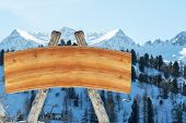 Blank Billboard For Outdoor Advertising From Logs And A Wooden Board On A Ski Slope Against A Backgr poster