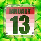 January 13 Icon. Calendar Date For Planning Important Day With Green Leaves. January 13th. Banner Fo poster