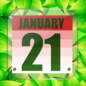 January 21 Icon. For Planning Important Day With Green Leaves. Banner For Holidays And Special Days. poster