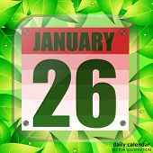 January 26 Icon. For Planning Important Day With Green Leaves. Banner For Holidays And Special Days. poster