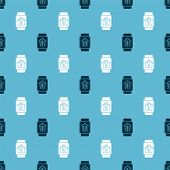 Set Smart Home With Smart Watch And Smart Watch With Smart House And Light Bulb On Seamless Pattern. poster