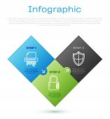 Set Line Paper Shredder Confidential, Shield And Safe Combination Lock . Business Infographic Templa poster