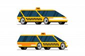 Taxi Self Driving Car Front And Back Side Perspective View. Yellow Futuristic Unmanned Concept Cab C poster