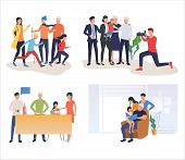 Set Of Family Resting And Having Fun. Flat Vector Illustrations Of People Spending Leisure Time. Fam poster