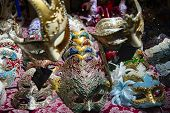 Series Of Ceramic Carnival Masks In Various Colors. Carnival Concept. Product For Sale In Venice, It poster