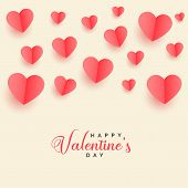 Lovely Flying Papercut Hearts Valentines Day Background Design Illustration poster