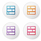 Color Line Shelf Icon Isolated On White Background. Shelves Sign. Set Icons In Circle Buttons. Vecto poster