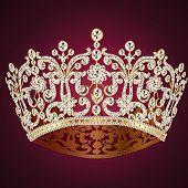 Постер, плакат: Корона диадема женственной Свадьба на красном
