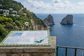 Faraglioni Rocks View And Tourists Information Table. Capri Island Viewpoint, Italy. poster