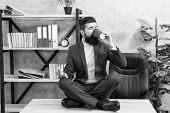 Relaxation Techniques. Mental Wellbeing And Relax. Man Bearded Manager Formal Suit Sit Lotus Pose Re poster