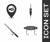 Set Fishing Lure, Location Fishing, Fishing Rod And Fishing Float Icon. Vector poster