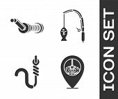 Set Location Fishing, Spinning Reel For Fishing, Fishing Hook And Worm And Fishing Rod And Fish Icon poster