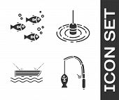 Set Fishing Rod And Fish, Fish, Fishing Boat With Fishing Rod On Water And Fishing Float In Water Ic poster
