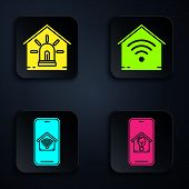 Set Mobile Phone With Smart House And Light Bulb, Smart House And Alarm, Mobile Phone With Smart Hom poster