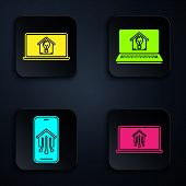 Set Laptop With Smart Home, Laptop With Smart House And Light Bulb, Mobile Phone With Smart Home And poster