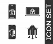 Set Smart Home, Mobile Phone With Smart House And Light Bulb, Mobile Phone With Smart Home And Lapto poster