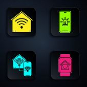 Set Smart Watch With House Under Protection, Smart Home With Wi-fi, Smart Home With Wi-fi And Mobile poster