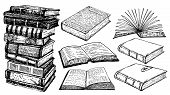Books Vector Collection Sketch. Pile Of Books. Hand Drawn Illustration In Sketch Style. Library, Boo poster