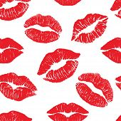 Lipstick Kiss Print Isolated Seamless Pattern. Red Vector Lips Set. Different Shapes Of Female Sexy  poster