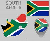 Colorful Flag, Map Pointer And Map Of South Africa In The Colors Of The South-african Flag. High Det poster