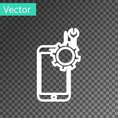 White Line Mobile Phone With Screwdriver And Wrench Icon Isolated On Transparent Background. Adjusti poster