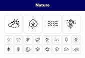 Nature Icons. Set Of Line Icons On White Background. Wood, Snowflake, Overcast. Fall Concept. Vector poster