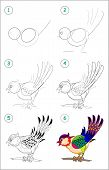 How To Draw Step By Step A Cute Little Bird. Educational Page For Kids. Back To School. Developing C poster