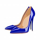 High Heeled Shoe Blue Realistic Vector Illustration Isolated poster