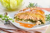 stock photo of phyllo dough  - Salmon fillet on leek - JPG