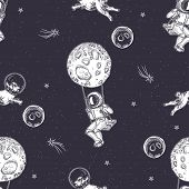 Astronaut Is Sitting On A Swing. Pug Astronaut Flies In Space. Illustration On The Theme Of Astronom poster