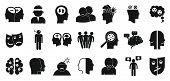 Bipolar Disorder Icons Set. Simple Set Of Bipolar Disorder Vector Icons For Web Design On White Back poster