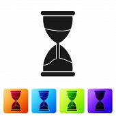 Black Old Hourglass With Flowing Sand Icon Isolated On White Background. Sand Clock Sign. Business A poster
