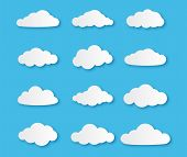 Paper Cloud. Different Clouds On Blue Sky In Origami Design, Cut Paper Empty Cumulus Cardboard Symbo poster