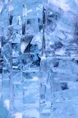 The Abstract Background Of Ice Structure. Ice Sculpture Close Up. Blue Transparent Ice Shapes. Ice S poster