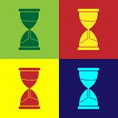 Color Old Hourglass With Flowing Sand Icon Isolated On Color Background. Sand Clock Sign. Business A poster