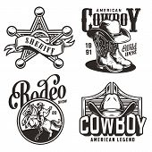 Vintage Monochrome Wild West Emblems With Sheriff Badge Star Cowboy Hat Boots Saloon Swinging Doors  poster